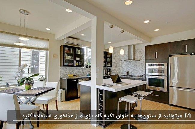دکوراسیون ستون و قرار دادن میز غذاخوری کنار آن در آشپزخانه