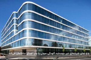 دو بر از یک ساختمان با نمای شیشه ای و بین شیشه های هر طبقه یک نوار یک دست سفید و چند نهال کوچک در کنار ساختمان و خیابان