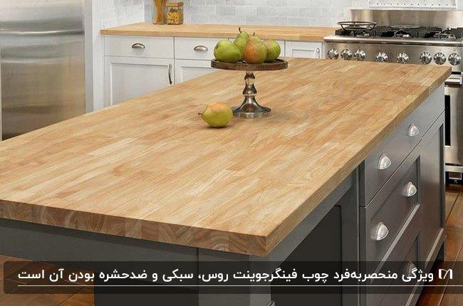 آشپزخانه ای با کابینت سفید و کانتر و طوسی با صفحه فینگر جوینت روسی