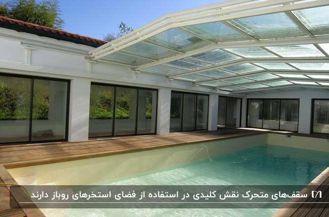 استخر سرپوشیده مستطیلی در حیاط خانه با سقف متحرک