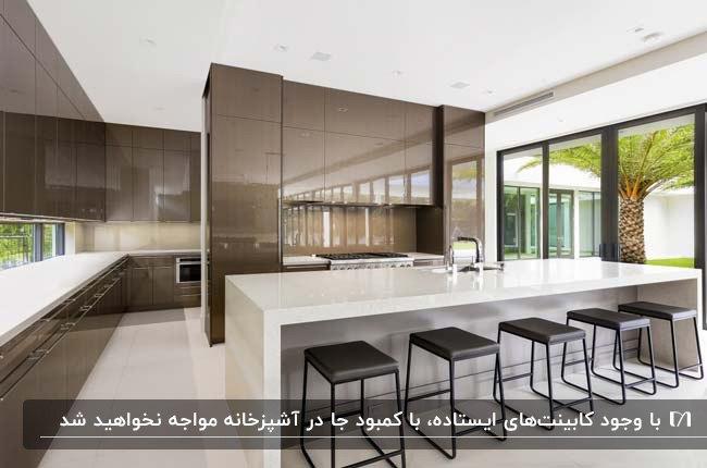 آشپزخانه مدرن با کابینت های هایگلاس سفید و قهوه ای و چهارپایه های مشکی