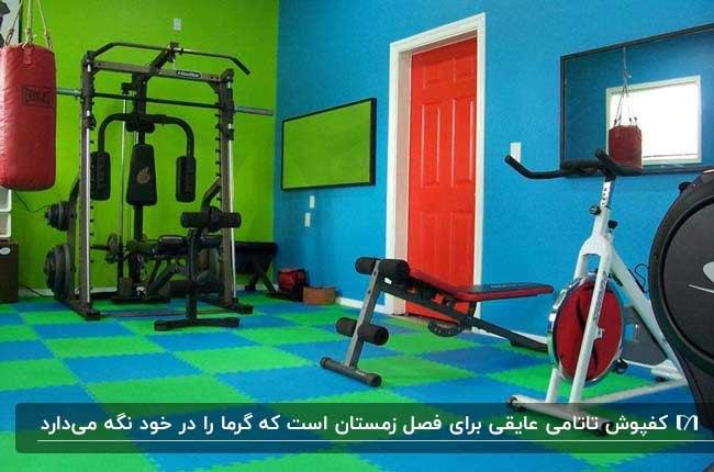 اتاق ورزشی با دیوارهای سبز و آبی و درب نارنجی و کفپوش تاتامی سبز و آبی