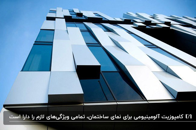 نمای کامپوزیتی ساختمانی به رنگ نقره ای و آبی