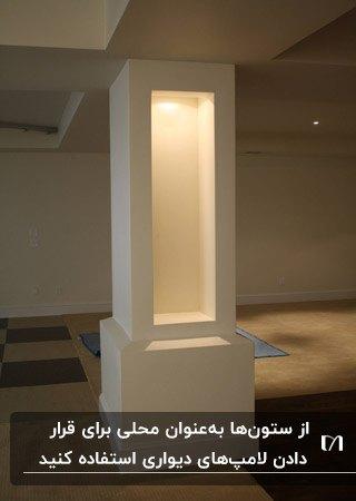 دکوراسیون ستون با نورپردازی هالوژنی در پذیرایی