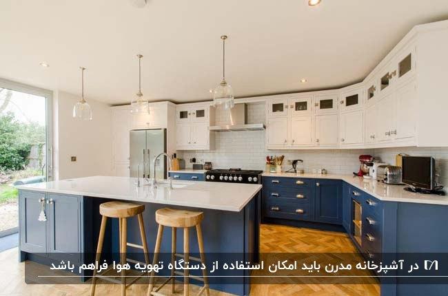 آشپزخانه مدرن با کابینت های آبی و سفید و کفپوش قهوه ای و سیستم تهویه هوا