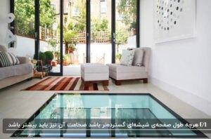 نشیمنی با کفپوش شیشه ای، مبلمان سفید و قالیچهای راهراه با رنگ های گرم