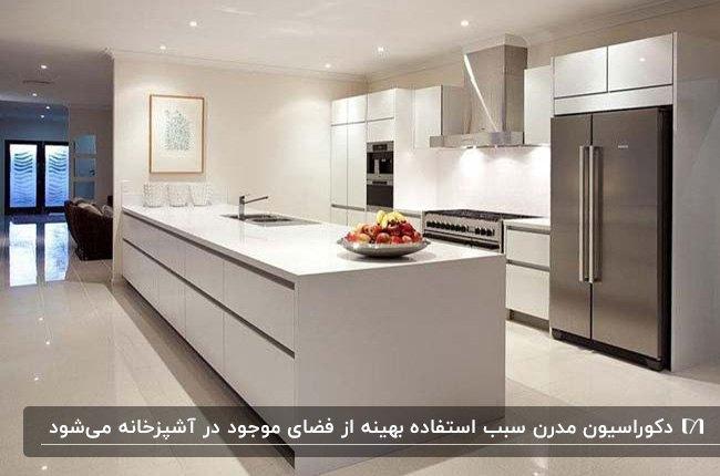 آشپزخانه مدرن با کابینت های سفید، لوازم برقی نقره ای و نورپردازی هالوژن