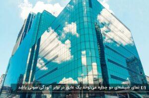 ساختمانی با نمای شیشه ای که تصویر ساختمان ها و ابرها در آن منعکس شده