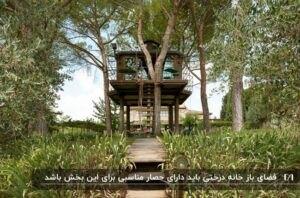 خانه درختی دارای عرشه در یک دشت پر از علف مسیری چوبی منتهی به خانه
