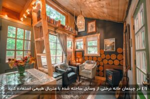 نمای داخلی یک خانه درختی با مبلمان سفید و مشکی، چند تابلو بر دیوار و یک گیتار