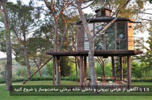 خانه درختی با قسمتی نمای شیشه ای بر روی پایه های مستحکم چوبی در زمین چمنی
