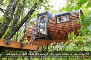 یک خانه درختی استوانه ای شکل چوبی با در ورودی و یک پنجره کوچک با قاب مشکی