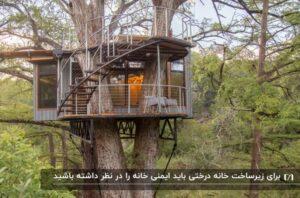 یک خانه درختی چوبی به رنگ خاکی با راه پله ای متصل کننده ی خانه به سقف به عنوان فضای قابل استفاده