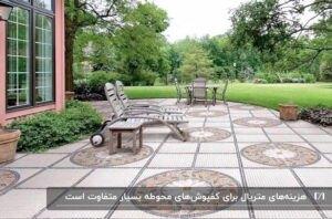 کفپوش محوطه ی یک حیاط با طرح های دایره ای و میز و صندلی های راحتی