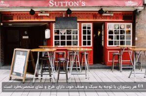 نمای یک رستوران به رنگ قرمز با پنجره های سفید و میزهای کوچک گرد با صندلی