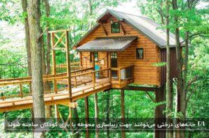 یک خانه درختی با سقف شیروانی و چند پنجره کوچک شیشه ای در یک جنگل