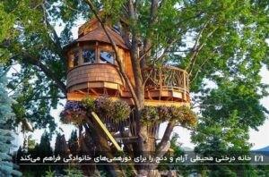 خانه درختی چوبی با نمای گرد و پنجره به همراه دسته های بزرگ گل بنفش زیر خانه